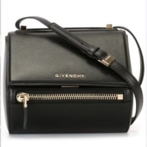 Mini Pandora box bag. Black smooth leather.